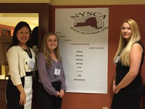 Dr. Yifeng Hu (left) and two of her student presenters: Ashley Attinello (center), and Lucy Obozintsev (right). (Photo courtesy of Yifeng Hu)