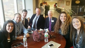 From left to right; Jenna Kirby, Marc Trotochaud, Kevin O'Brien, Perry Goldman, Dr. Pollock, Mcaire Machado, and Emily Marr.